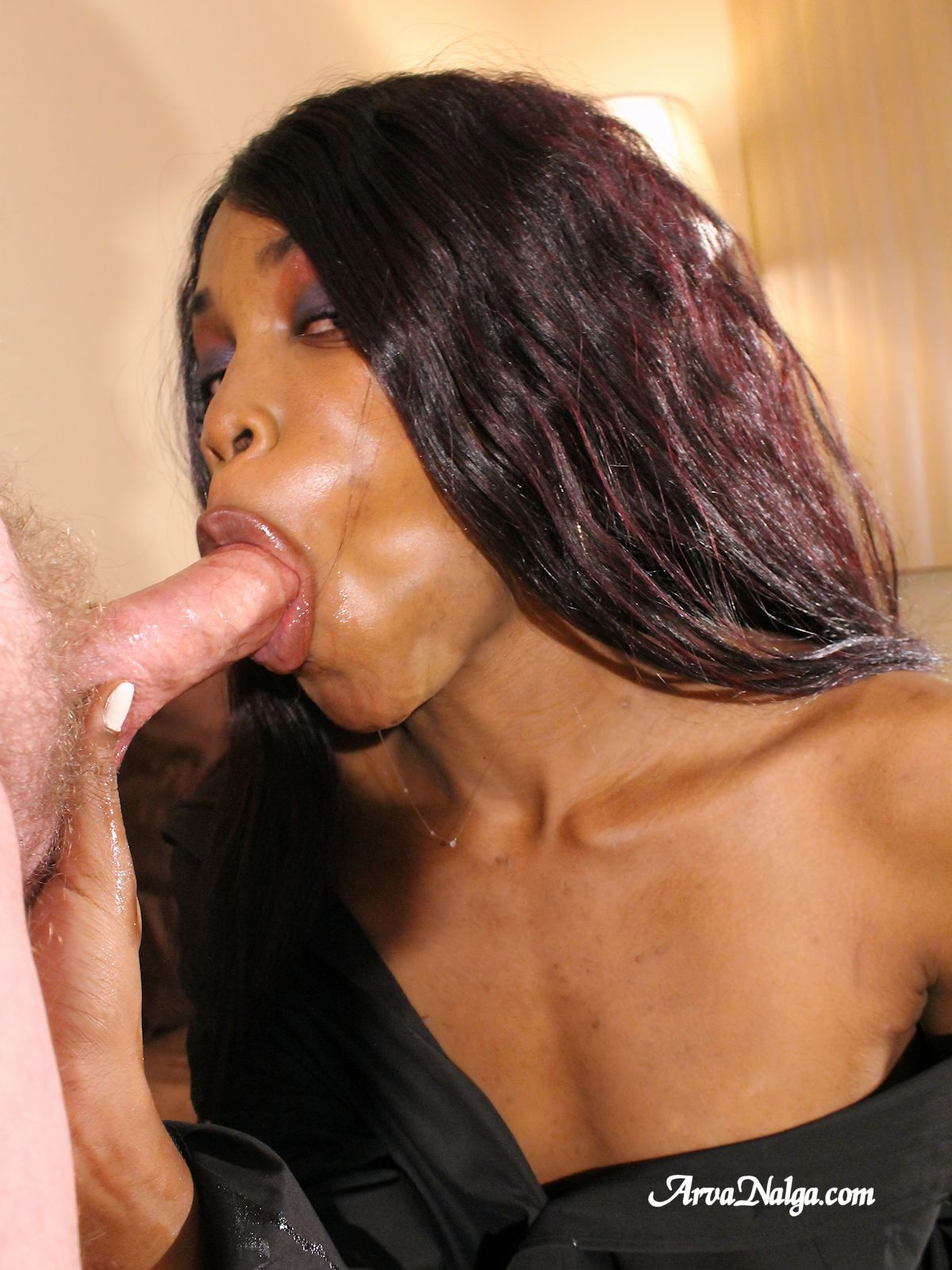 Two black chicks jerking a white dick